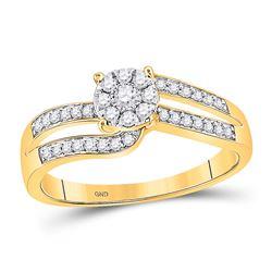Womens Round Diamond Flower Cluster Ring 1/3 Cttw 10kt Yellow Gold - REF-21M5H
