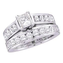 Princess Diamond Bridal Wedding Ring Band Set 2 Cttw 14kt White Gold - REF-253H9R