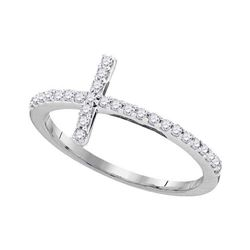 Womens Round Diamond Slender Cross Band Ring 1/5 Cttw - Size 8 10kt White Gold - REF-13K9Y