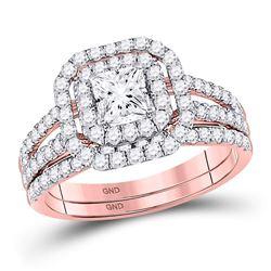 Princess Diamond Bridal Wedding Ring Band Set 1-1/2 Cttw 14kt Rose Gold - REF-153F5W