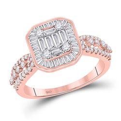 Womens Baguette Diamond Square Cluster Ring 7/8 Cttw 14kt Rose Gold - REF-63Y5N