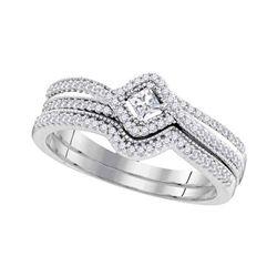Princess Diamond Bridal Wedding Ring Band Set 1/3 Cttw 10k White Gold - REF-32W9K