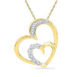 Womens Round Diamond Heart Pendant 1/20 Cttw 10kt Yellow Gold - REF-9X5A