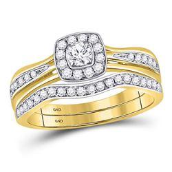 Round Diamond Bridal Wedding Ring Band Set 1/2 Cttw 14kt Yellow Gold - REF-57N9F