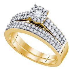 Round Diamond Bridal Wedding Ring Band Set 5/8 Cttw 14kt Yellow Gold - REF-60W5K