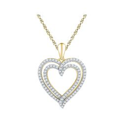 Womens Round Diamond Double Frame Heart Pendant 1/2 Cttw 10kt Yellow Gold - REF-30N5F