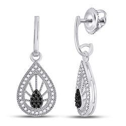 Womens Round Black Color Enhanced Diamond Teardrop Dangle Earrings 1/4 Cttw 10kt White Gold - REF-21