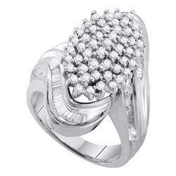 Womens Round Diamond Wide Cluster Ring 1 Cttw 10kt White Gold - REF-56K5Y