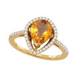 Womens Pear Citrine Diamond Teardrop Solitaire Ring 1-5/8 Cttw 14kt Yellow Gold - REF-47W9K