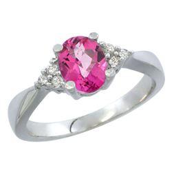 1.06 CTW Pink Topaz & Diamond Ring 14K White Gold - REF-36R9H