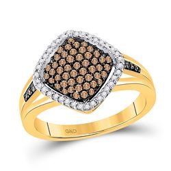 Womens Round Brown Diamond Cluster Ring 1/2 Cttw 10kt Yellow Gold - REF-27F9W