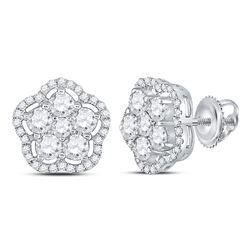 Womens Round Diamond Star Cluster Earrings 1-1/2 Cttw 14kt White Gold - REF-104F9W