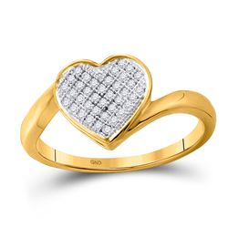 Womens Round Diamond Heart Cluster Love Ring 1/10 Cttw 10kt Yellow Gold - REF-12Y5N