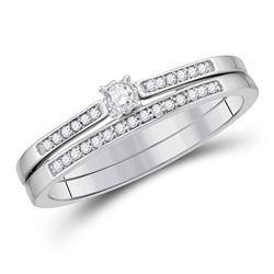 Round Diamond Bridal Wedding Ring Band Set 1/8 Cttw 10kt White Gold - REF-24M5H