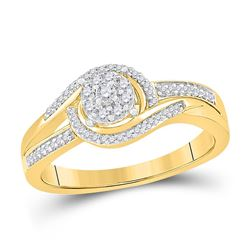 Womens Round Diamond Solitaire Promise Ring 1/5 Cttw 10kt Yellow Gold - REF-21A5M