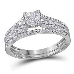 Princess Diamond Bridal Wedding Ring Band Set 1/2 Cttw 14kt White Gold - REF-32X5A