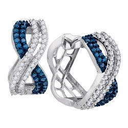 Womens Round Blue Color Enhanced Diamond Hoop Earrings 1 Cttw 10kt White Gold - REF-43X5A