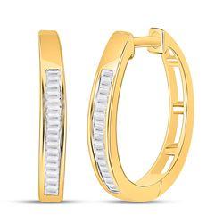 Womens Baguette Diamond Hoop Earrings 1/5 Cttw 10kt Yellow Gold - REF-10F5W