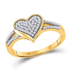 Womens Round Diamond Milgrain Heart Cluster Ring 1/5 Cttw 10kt Yellow Gold - REF-19K9Y