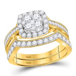 Round Diamond Cluster Bridal Wedding Ring Band Set 1 Cttw 14kt Yellow Gold - REF-71R9X