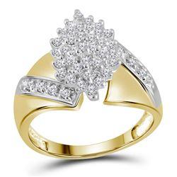 Womens Round Diamond Cluster Ring 1/2 Cttw 14kt Yellow Gold - REF-32W9K
