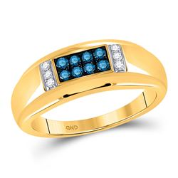 Mens Round Blue Color Enhanced Diamond Band Ring 1/3 Cttw 10kt Yellow Gold - REF-25A5M