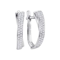 Womens Round Pave-set Diamond Hoop Earrings 1/6 Cttw 10kt White Gold - REF-15K9Y