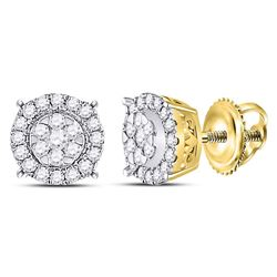 Womens Round Diamond Halo Cluster Earrings 1/4 Cttw 14kt Yellow Gold - REF-25Y9N