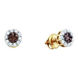 Womens Round Brown Diamond Flower Cluster Earrings 1-1/2 Cttw 14kt Yellow Gold - REF-65K5Y