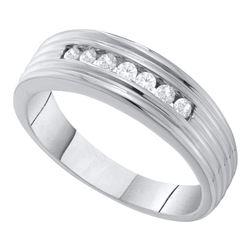 Mens Round Diamond Wedding Single Row Band Ring 1/4 Cttw 10kt White Gold - REF-21X5A
