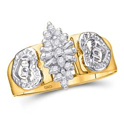 Womens Round Diamond Mom Mother Ring 1/8 Cttw 10kt Yellow Gold - REF-13F5W