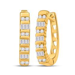 Womens Baguette Diamond Hoop Earrings 1/4 Cttw 10kt Yellow Gold - REF-13A9M