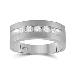 Mens Round Diamond Wedding 5-Stone Band Ring 1/2 Cttw 14kt White Gold - REF-71X9A