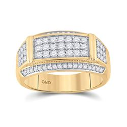 Mens Round Diamond Rectangle Band Ring 1 Cttw 10kt Yellow Gold - REF-85F5W
