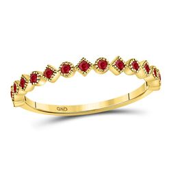 Womens Round Ruby Square Dot Stackable Band Ring 1/5 Cttw 10kt Yellow Gold - REF-10H5R