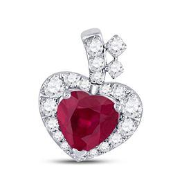 Womens Heart Ruby Diamond Fashion Pendant 5/8 Cttw 10kt White Gold - REF-16K9Y