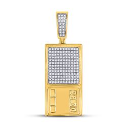 Mens Round Diamond Scale Charm Pendant 3/8 Cttw 10kt Yellow Gold - REF-27W9K