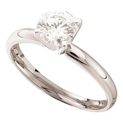 Womens Round Diamond Solitaire Bridal Wedding Engagement Ring 1/4 Cttw 14kt White Gold - REF-26N5F