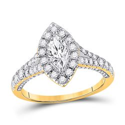 Marquise Diamond Halo Bridal Wedding Engagement Ring 1-1/4 Cttw 14kt Yellow Gold - REF-153K5Y