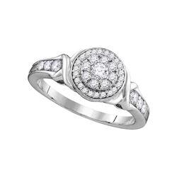 Round Diamond Solitaire Halo Bridal Wedding Engagement Ring 1/2 Cttw 10kt White Gold - REF-40F9W