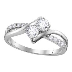 Round Diamond 2-stone Bridal Wedding Engagement Ring 5/8 Cttw 10kt White Gold - REF-52R9X