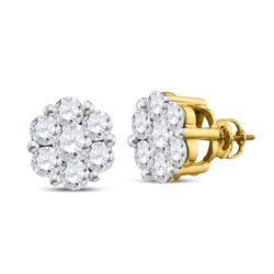 Womens Round Diamond Flower Cluster Stud Earrings 2 Cttw 14kt Yellow Gold - REF-175K5Y