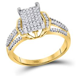 Womens Round Diamond Rectangle Cluster Ring 1/3 Cttw 10kt Yellow Gold - REF-24K5Y