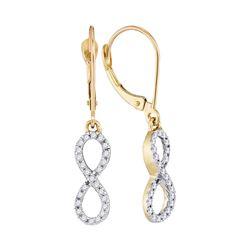 Womens Round Diamond Infinity Dangle Earrings 1/4 Cttw 10kt Yellow Gold - REF-14Y9N