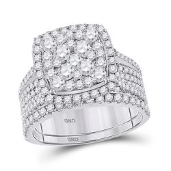 Round Diamond Bridal Wedding Ring Band Set 2 Cttw 14kt White Gold - REF-154R9X