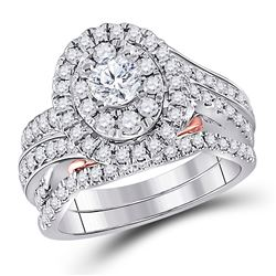 Round Diamond Bridal Wedding Ring Band Set 1-1/2 Cttw 14kt Two-tone Gold - REF-170X9A