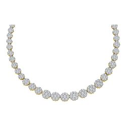 Womens Round Diamond Cocktail Flower Cluster Necklace 14 Cttw 14kt Yellow Gold - REF-989N5F