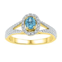 Womens Oval Lab-Created Blue Topaz Solitaire Ring 5/8 Cttw Size 8 10kt Yellow Gold - REF-14N5F