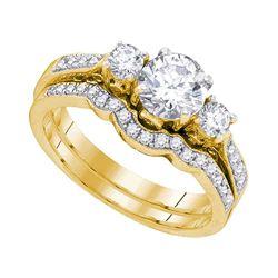Round Diamond 3-Stone Bridal Wedding Ring Band Set 1 Cttw 14kt Yellow Gold - REF-186A5M