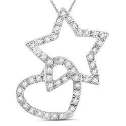 Womens Round Diamond Linked Star Heart Pendant 1/8 Cttw 14kt White Gold - REF-8F5W